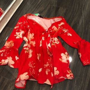 Red flower romper